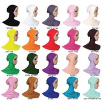 Wholesale scarves islamic women - Islamic Hijab Muslim Underscarf inner-cap Muslim Head Scarf Modal Material with 20 Colors