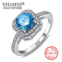 Wholesale Natural Stone Rings Sterling Silver - YHAMNI Luxury 1ct 6mm Natural Blue Gem Stone Rings for Women Real 925 Sterling Silver CZ Diamond Engagement Wedding Rings KR154