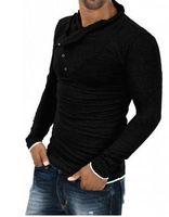 Wholesale Silk Mens Long Shirt - New Autumn Mens 100% Cotton Oblique Button Collar T Shirt Fashion Men Long Sleeve T Shirts Slim fit T-Shirt Solid Tee