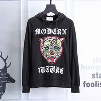 Wholesale Behind Button - new Brand fashion men hoodies casual Behind the letter Digital printing big cats fleece male pullover tracksuit mens sweatshirt
