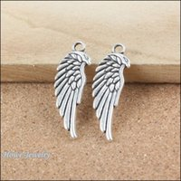 Wholesale Metal Charms Pendants Wings - 36pcs Vintage Charms wing Pendant Ancient silver Fit Bracelets Necklace DIY Metal Jewelry Making B171