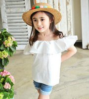 Wholesale Kids Red Vest Top - Girls falbala shoulder shirt summer new children princess tops kids cotton ruffle vest tops girls best dress tops red pink white A8864
