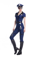 Wholesale Police Woman Jumpsuit - 7-piece Set Adult Blue Halloween Costumes For Women Cosplay Sexy Policewomen Costume Police Outfits Handsome Jumpsuit