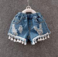 Wholesale Short Denim Broken - 2016 Summer Style Girls Denim Broken Tassels Shorts Pants Brand Kids Baby Clothing Pockets 1-4T Blue K7118