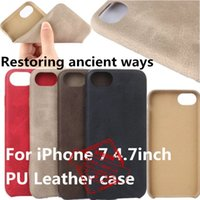 Wholesale Wholesale Android Cell Phone Cases - 2017 Pouch Leather PU Case For iphone 7 Plus iphone7 Samsung S7 S8 Note7 Mobile Cell Phone Cases Covers Slim Retro Luxury Smartphone Android