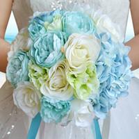 Wholesale Beach Wedding Bouquets - 2017 New Sky Blue Beach Wedding Flowers Wedding Bouquets Bridesmaids Artificial Silk Rose Bridal Bouquet Wedding Accessories