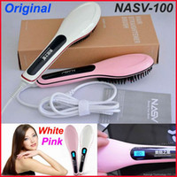 Wholesale hair straightening brush temperature control online - 100 Original Authentic Beautiful Star Comb fast Hair Straightener Styling Tools Fast hair straightening brush Combs LCD Temperature Control