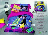 Wholesale Cheap Children Comforters - carton blue purpe lover polka dot print 500TC cotton bedlinen cheap bedding sets duvet covers 4pc for full queen comforter quilt