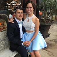 Wholesale Sexy Black Shirt Holes - 2017 Pearls Two Pieces Short Homecoming Dresses Cheap Key Hole Neck Sleeveless 8th Grade Prom Dress Graduation Sexy Party Gowns