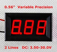 Wholesale voltmeter wires - Top Quality DC 0.56 inch 3.5-30V two-wire voltage Red LED Panel Digital Volt Meter Gauge digital adjustment voltmeter