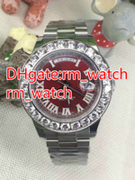 Wholesale Diamond Perpetual - Top Quality Mens Watch Big Diamonds Day-Date Silver Stainless Steel 43mm red dial Perpetual Automatic Mechanical Sapphire Glass Men watch