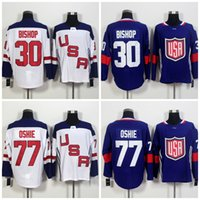Wholesale Red Bishops - 2016 World Cup Team USA Olympic Games 30 Ben Bishop Jersey,ICE Hockey 77 T.J.Oshie Jerseys Embroidery Blue White
