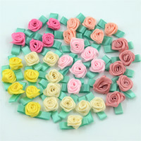 Wholesale Mini Silk Rosettes - 100PCS Artificial Mini Silk Rosettes Fabric Flowers Heads Making Handmade Satin Ribbon Applique DIY Craft For Wedding Decoration