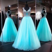 Wholesale Real Stone Flooring - Long Backless Prom Dresses 2017 Tulle Beading Stones Special Occasion Runway V Neck Major Beading For Pageant Women
