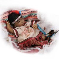 """Wholesale High End Dolls - 22"""" soft vinyl Native American Indian reborn baby dolls High-end Collectible Dolls and Gift dolls for Education"""