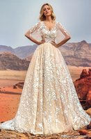 Wholesale Royal Castle - Arabia Turkey Pakistan Middle East full embellishment half angel sleeves wedding dresses 2018 oksana mukha bridal royal train