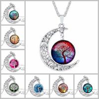 tallado vintage al por mayor-Nueva Moda Vintage Tree of Life Collares Moon Gemstone Mujeres Collares pendientes Hueco Tallado 8 Mix Joyería Estilos
