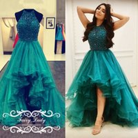 Wholesale Peacock Beaded Dress - 2018 Peacock Green Tiered High Low Prom Dresses Sparkling Sequins Beading Ruffles A Line Sheer Halter Organza Pageant Dress Party Gowns