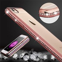 Lunette de luxe Bling Diamond Frame Transparente pour iphone 6 6S 4.7 / Plus 5.5 Housse en silicone souple PC Plating Edge Rose Gold Capa
