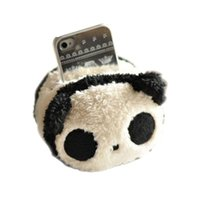 plush phone holder оптовых-Wholesale-New Cute Square Panda Plush Toys Phone Seat Cell Phone Holder 1 Piece Free Shipping Useful 2016 Hot