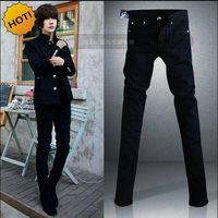 Wholesale Hip Hop Boys Jeans - Black Micro Elastic SKinny Jeans Men Teenagers Casual Pencil Pants Cotton Thin Boy Handsome Hip Hop trousers 28-34