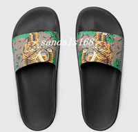 Wholesale Tiger Print Bags - New mens fashion causal rubber slide sandals flip flops with green tiger bengal leather dust bags and box