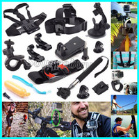 Wholesale gopro mount accessories - 12 in 1 Kit For go pro Camera Accessories Head chest strap bracelet Monopod with Mount Adapter for GoPro Hero 5 4 3