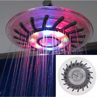 overhead lighting - 7 colors LED Shower head Wall Mount Rainfall overhead Showerhead Shower Head with Build in LED Light Mixed color Single color