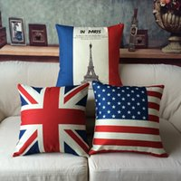 Wholesale car print fabric - 45cm America England Flag Cotton Linen Fabric Throw Pillow 18 Inch Fashion Gift New Home Decor Sofa Car Office Nap Back Cushion