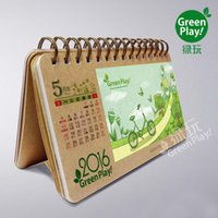 Wholesale Design Paper Pads - Kraft paper desk calendar with green design printed creative DIY desk calendar with note pad make your desk on the office an impression