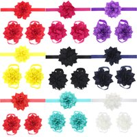 Wholesale Headbands Matching Shoes - Fashion Baby Accessories Infant Kids Headbands Foot Flower Matching Set Baby Girls Sandals Barefoot Sandals Baby Shoes Toddler Shoes