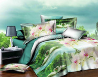 Wholesale Cheap Comforter Sets Full Size - swans in the pond print bedding set cheap bed linen 3d oil painting comforter cover full queen size bed duvet cover with sheet