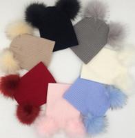 Wholesale Double Ball Knitted Cap - Children Hat Winter Double Raccoon Ball Hat For Kids Winter Knitted Hat Earmuffs Hats Caps Fur Balls Caps KKA2866