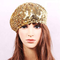 Wholesale Beautiful Hat - Free shipping beautiful fashion Dance reception &party lady's sequined hat factory wholesale sequin beret hat super cool