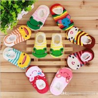 Wholesale Infant Cartoon Animal Socks - Infant baby socks cartoon pattern stockings boat shape Non-slip socks cotton baby booties socks Anti-skid socks V15042203