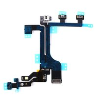 Wholesale Iphone 4s Volume Power Mute - 100PCS Power Mute Volume Button Switch Connector On Off Flex Cable Ribbon for iPhone 4 4s 5 5s 5c free DHL