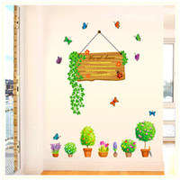 ingrosso adesivi della parete della pianta del fiore-Bonsai Verde Pianta in vaso Foglie Fiori Farfalla Adesivi murali Finestra Decorazione in vetro Stickers murali Decorazione murale Decor Wall Stickers