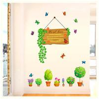 flor de maceta de pared pegatinas al por mayor-Bonsai verde planta en maceta hojas flores mariposa pegatinas de pared decoración de vidrio de la ventana tatuajes de pared pared de la frontera mural decoración de la pared carteles