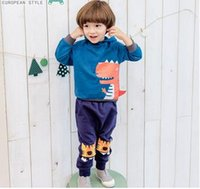 Wholesale Handsome Cartoon - Children sweatshirt boys cotton cartoon printed hoodies long sleeve Korean style pullover kids handsome clothes C0381
