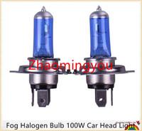 Wholesale H4 Super Bright Halogen - 10pcs H4 Super Bright White Fog Halogen Bulb 100W Car Head Light Lamp h4 100W car styling car light source parking