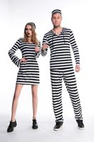 Wholesale Female Couples Costumes - Prison Uniform Costume For Adults Women& Men Couples Prison Uniform Streak Costume Halloween Cosplay Party Clothing Free Shipping