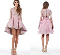 stürzen satin prom kleid großhandel-2019 Pink Cocktail Party Kleider nach Maß eine Linie Long Sleeves High Low Spitze Applique Tiefer Homecoming Kleider Prom Short Mini Dress