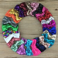 Wholesale Diy Hair Accessory - 25pcs lot Handmade sequin bow DIY hair accessories 3inch sequin hair bows without alligator clip for girls accessories