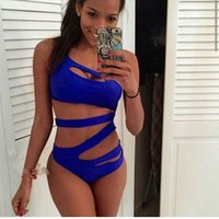 Wholesale 2016 sexy One Piece Suit Women hollow out Solid swimsuit Blue Black White Beach Bathing High Cut One Shoulder Bandage Swimwear