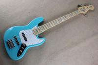 Wholesale Semi Bass - Free shipping Factory Custom new light blue jazz 5 String bass Maple fingerboard music bass