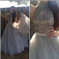 Wholesale Tassel Dress Homecoming - Long Gray Homecoming Prom Dresses High Neck Beaded Sleeveless Hollow Back with Belt A-line Evening Gowns
