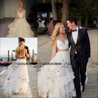 Wholesale Cute Simple Short Wedding Dresses - Hayley Paige 2016 New Two Pieces Handmade 3D Floral Beach Wedding Dresses So Cute Colorful Flower Elegant Country Wedding Gowns