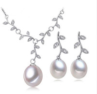 Wholesale Earings Sets - New free shippin Pearl Jewelry,Pink Jewelry Sets for Women Natural Pearl leaves Necklace Earring,earings fashion jewelry box christmas
