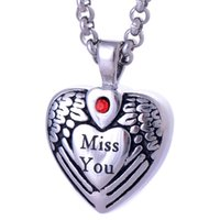 "Wholesale Titanium Love Pendant Necklace Heart - Vintage Titanium ""Miss You"" Heart Pendants Urn Necklace Cremation Ashes Pendant Keepsake Jewelry Openable put in Perfume or Love Notes"