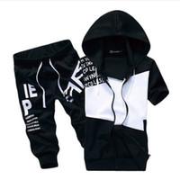 Wholesale Mens Summer Hoodie - Wholesale-mens sports suits summer Jogging Shorts Sets Hit Color Clothes suit brand 2016 Summer Chandal Hombre Set hoodie sweatshirt MS035